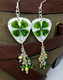 Shamrock Guitar Pick Earrings with Green and Gold Swarovski Crystal Dangles