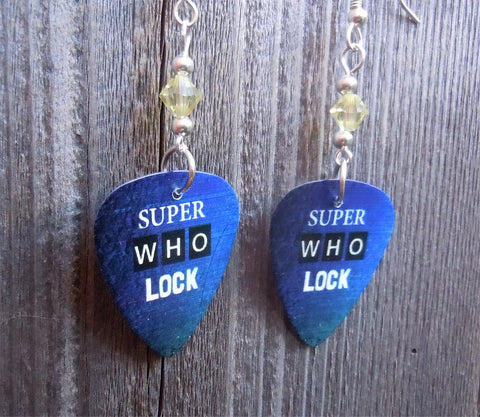 Sherlock Holmes Super Who Lock Guitar Pick Earrings with Yellow Crystals