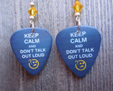 Sherlock Holmes Keep Calm and Don't Talk Out Loud Guitar Pick Earrings with Yellow Crystals
