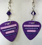 Sherlock Holmes High Functioning Sociopath Guitar Pick Earrings with Purple Crystals