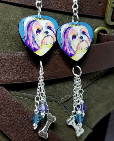 Shih Tzu Illustration Guitar Pick Earrings with Dog Bone Charm and Swarovski Crystal Dangles