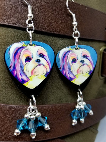 Shih Tzu Illustration Guitar Pick Earrings with Ocean Blue Swarovski Crystal Dangles