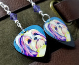 Shih Tzu Illustration Guitar Pick Earrings with Purple Swarovski Crystals