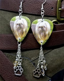Shih Tzu Guitar Pick Earrings with Paw Print Charm and Swarovski Crystal Dangles