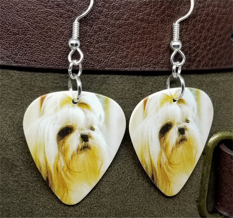 Long Haired Shih Tzu Guitar Pick Earrings