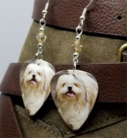 Shih Tzu Guitar Pick Earrings with Tan Swarovski Crystals
