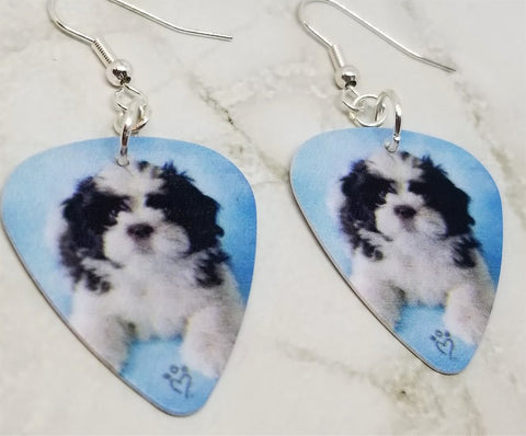 Shih Tzu Puppy Guitar Pick Earrings
