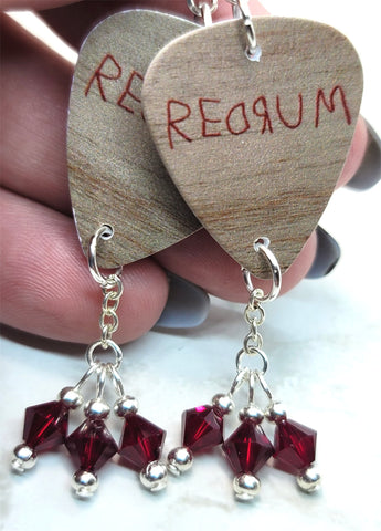 The Shining Redrum Guitar Pick Earrings with Deep Red Swarovski Crystal Dangles