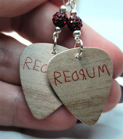 The Shining Redrum Guitar Pick Earrings with Deep Red Pave Beads