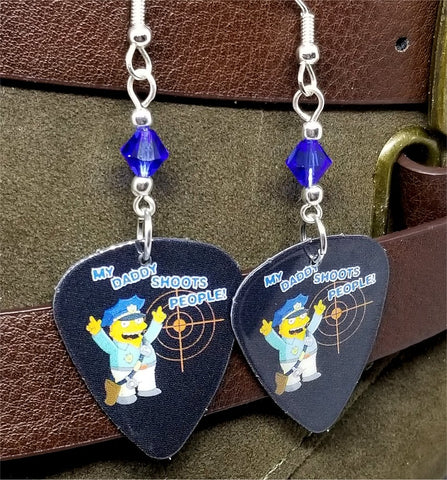 The Simpsons Ralphie in Police Uniform Guitar Pick Earrings with Blue Swarovski Crystals