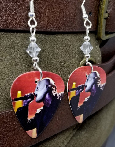 Slipknot Corey Taylor Guitar Pick Earrings with Clear Swarovski Crystals