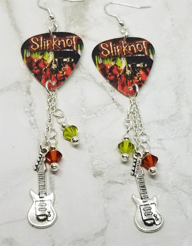Slipknot Wait and Bleed Guitar Pick Earrings with Guitar Charm and Swarovski Crystal Dangles