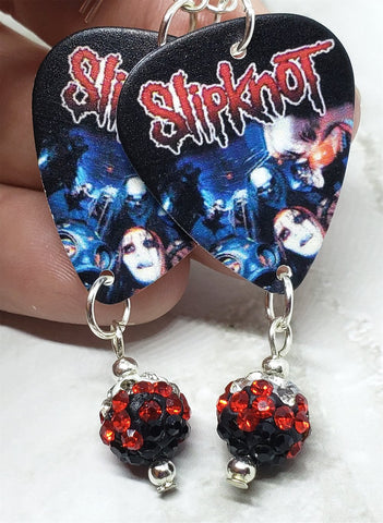 Slipknot Guitar Pick Earrings with Red Ombre Pave Dangles