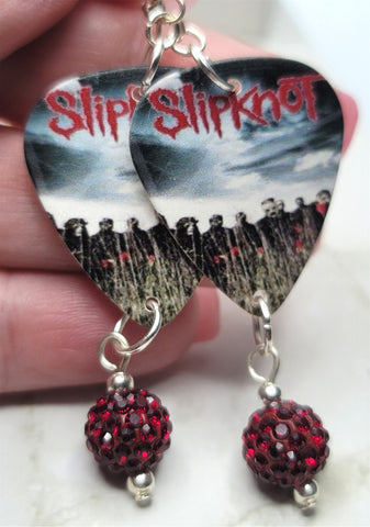 Slipknot All Hope Is Gone Guitar Pick Earrings with Red Pave Bead Dangles