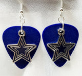 Blue Star Charm Guitar Pick Earrings - Pick Your Color