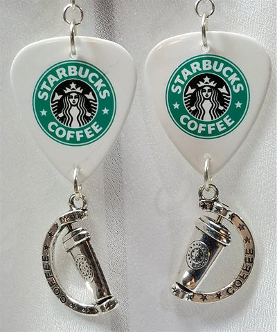 Starbucks Guitar Pick Earrings with Coffee Charm Dangles