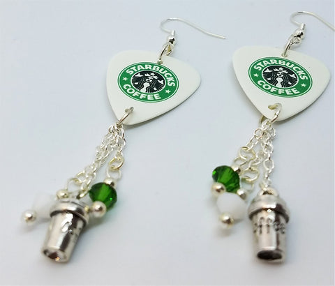 Starbucks Guitar Pick Earrings with Coffee Charm and Swarovski Crystal Dangles