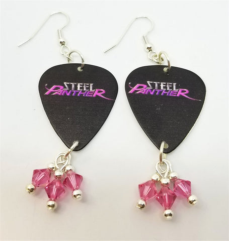 Steel Panther Black Guitar Pick Earrings with Pink Swarovski Crystal Dangles
