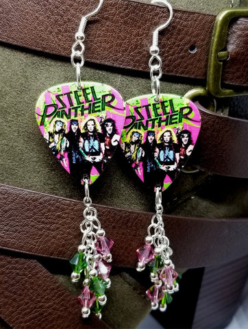Steel Panther Group Picture Guitar Pick Earrings with Swarovski Crystal Dangles