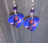 System of a Down Serj Tankian Guitar Pick Earrings with Purple Swarovski Crystals