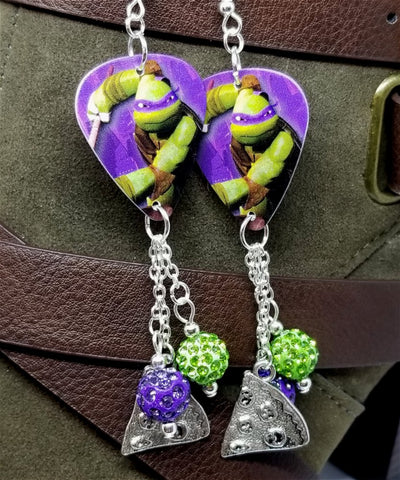 TMNT Donatello Guitar Pick Earrings with Pizza Charm and Pave Bead Dangles