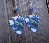 Leonardo Teenage Mutant Ninja Turtles Guitar Pick Earrings with Blue Pave Beads