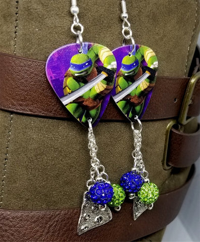 TMNT Leonardo Guitar Pick Earrings with Pizza Charm and Pave Bead Dangles