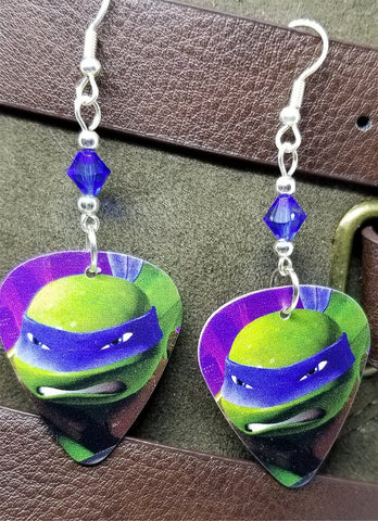 Leonardo Teenage Mutant Ninja Turtles Guitar Pick Earrings with Blue Swarovski Crystals