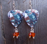 TMNT Michelangelo Guitar Pick Earrings with Orange Crystal Dangles