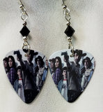 The Walking Dead Guitar Pick Earrings with Black Swarovski Crystal Bicones