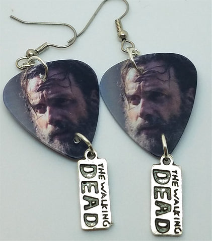The Walking Dead Rick Grimes Guitar Pick Earrings with Charm Dangles