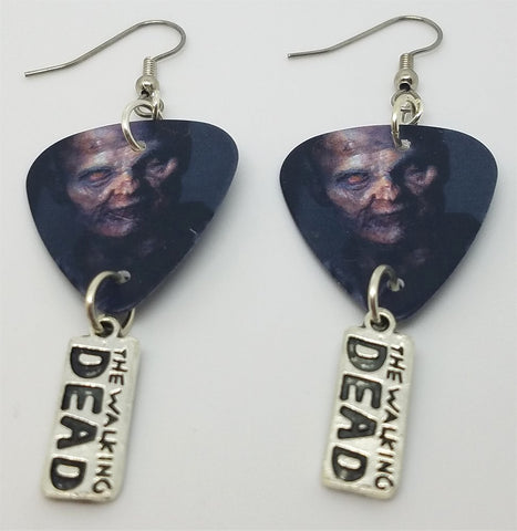 The Walking Dead Zombie Guitar Pick Earrings with Charm Dangles