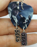 The Walking Dead Rick Shane Carl and Lori Guitar Pick Earrings with Charm Dangles