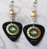 Horoscope Astrological Sign Taurus Guitar Pick Earrings with Metallic Sunshine Swarovski Crystals