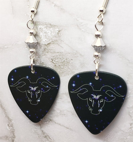 Horoscope Astrological Sign Taurus Guitar Pick Earrings with Metallic Silver Swarovski Crystals