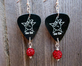 Black Texas A&M Gig Em Guitar Pick Earrings with Red Pave Beads