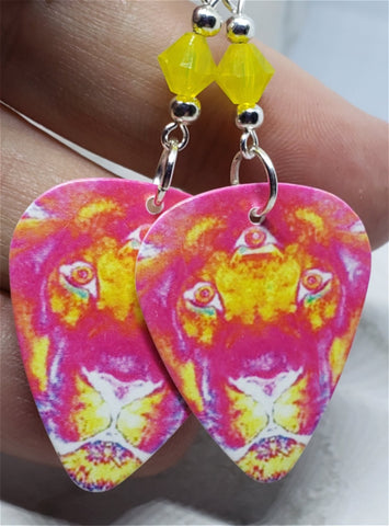 The Black Crowes Lions Guitar Pick Earrings with Yellow Opal Swarovski Crystals