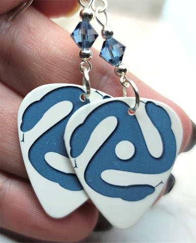 The Black Crowes Three Snakes and One Charm Guitar Pick Earrings with Denim Blue Swarovski Crystals