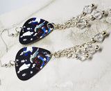 The Black Crowes Group Picture Guitar Pick Earrings with Clear Swarovski Crystal Dangles