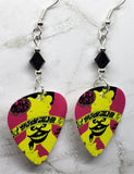 The Black Crowes Who Killed That Bird Out On Your Windowsill Guitar Pick Earrings with Black Swarovski Crystals