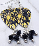 The Black Crowes War Paint Guitar Pick Earrings with Black Swarovski Crystal Dangles
