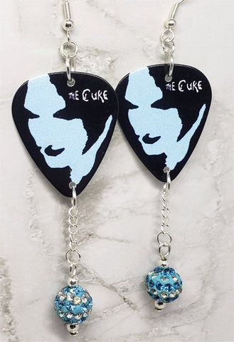 The Cure Guitar Pick Earrings with Aqua Blue and White Striped Pave Bead Dangles