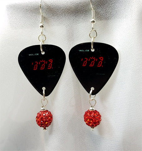 The Police Ghost In The Machine Guitar Pick Earrings with Red Pave Beads