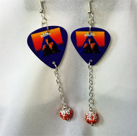 The Police Zenyatta Mondatta Guitar Pick Earrings with Orange Ombre Pave Beads