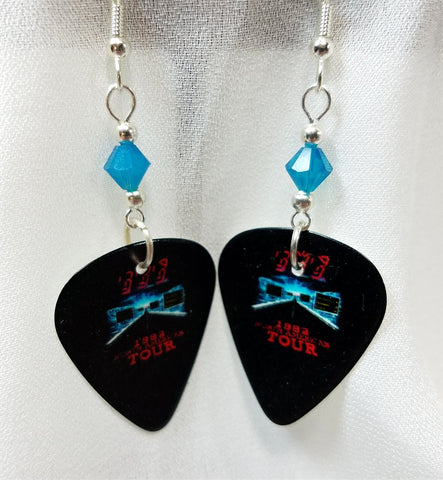 The Police 1983 Tour Guitar Pick Earrings with Blue Swarovski Crystals