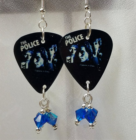 The Police Reggatta de Blanc Guitar Pick Earrings with AB Capri Blue Swarovski Crystal Dangles