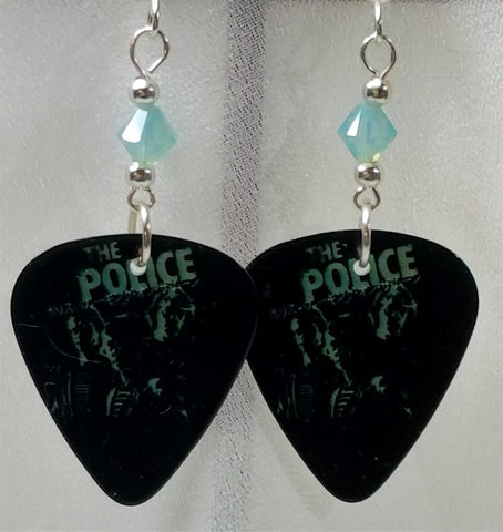 The Police Walking on the Moon Guitar Pick Earrings with Pacific Opal Swarovski Crystals