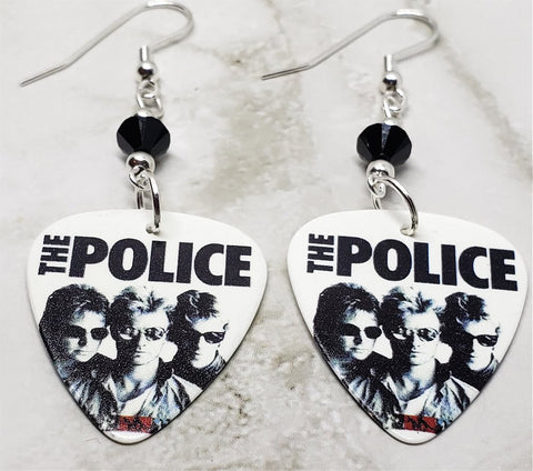 The Police Greatest Hits Guitar Pick Earrings with Black Swarovski Crystals