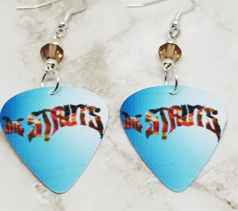 The Struts Guitar Pick Earrings with Smoked Topaz Swarovski Crystals