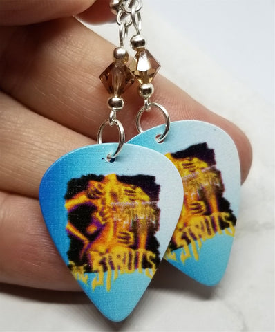 The Struts Everybody Wants Guitar Pick Earrings with Smoked Topaz Swarovski Crystals
